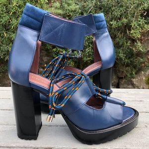 ZARA woman lace up block heels in blue